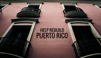 picture of a beautiful pink Puerto Rican building with the text help rebuild Puerto Rico on it.